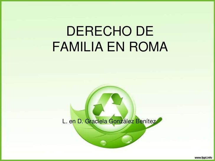 DERECHO DEFAMILIA EN ROMA L. en D. Graciela González Benítez.
