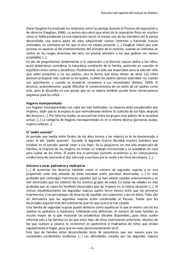 Resumen del capítulo del manual de Giddens- 3 -Diane Vaughan ha analizado las relaciones entre las parejas durante el Proc...