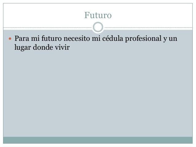 Futuro  Para mi futuro necesito mi cédula profesional y un lugar donde vivir