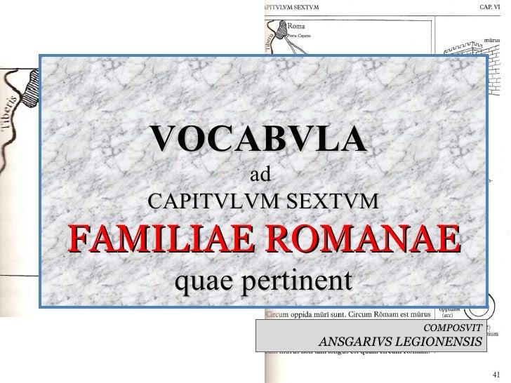 VOCABVLA  ad  CAPITVLVM SEXTVM FAMILIAE ROMANAE quae pertinent COMPOSVIT ANSGARIVS LEGIONENSIS
