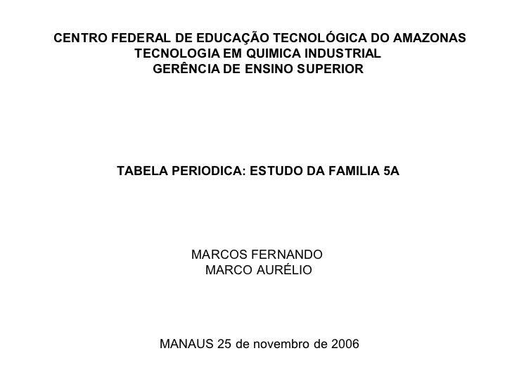 CENTRO FEDERAL DE EDUCAÇÃO TECNOLÓGICA DO AMAZONAS          TECNOLOGIA EM QUIMICA INDUSTRIAL            GERÊNCIA DE ENSINO...