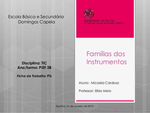 Famílias dos Instrumentos Pg: 1 Aluno: Micaela Cardoso Professor: Elísio Melo Escola Básica e Secundária Domingos Capela E...
