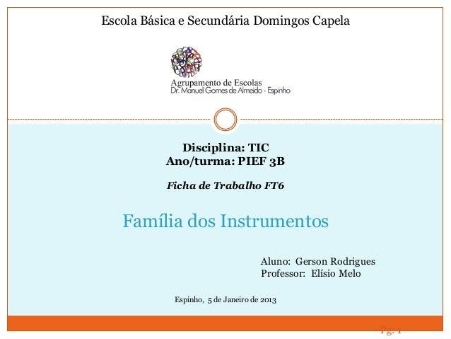 Pg: 1 Família dos Instrumentos Aluno: Gerson Rodrigues Professor: Elísio Melo Escola Básica e Secundária Domingos Capela E...