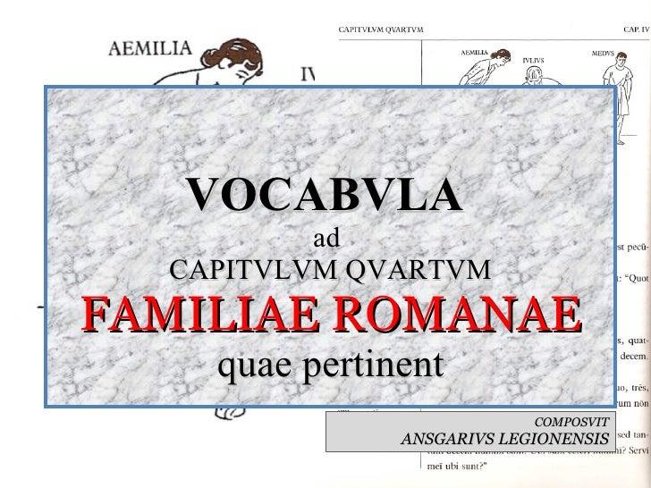 VOCABVLA  ad  CAPITVLVM QVARTVM FAMILIAE ROMANAE quae pertinent COMPOSVIT ANSGARIVS LEGIONENSIS