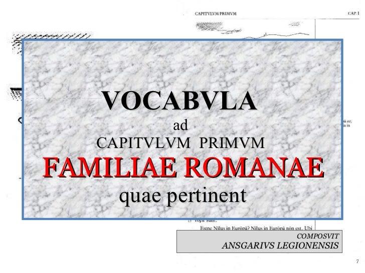 VOCABVLA  ad  CAPITVLVM  PRIMVM  FAMILIAE ROMANAE quae pertinent COMPOSVIT ANSGARIVS LEGIONENSIS