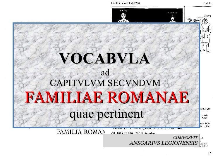 VOCABVLA  ad  CAPITVLVM SECVNDVM  FAMILIAE ROMANAE quae pertinent COMPOSVIT ANSGARIVS LEGIONENSIS