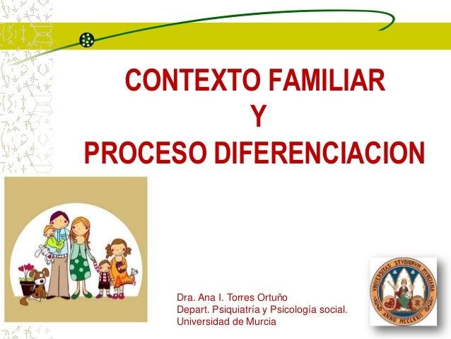 CONTEXTO FAMILIAR           YPROCESO DIFERENCIACION     Dra. Ana I. Torres Ortuño     Depart. Psiquiatría y Psicología soc...