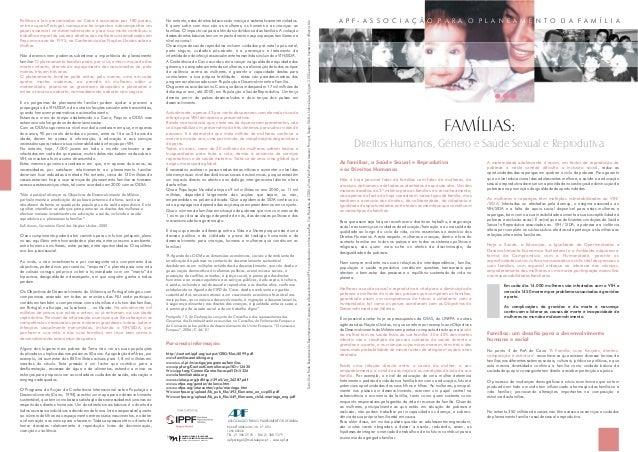 Direitos Humanos, Género e Saúde Sexual e Reprodutiva FAMÍLIAS: Texto:AliceFrade,ResponsáveldoDepartamentodeCooperaçãoeDes...