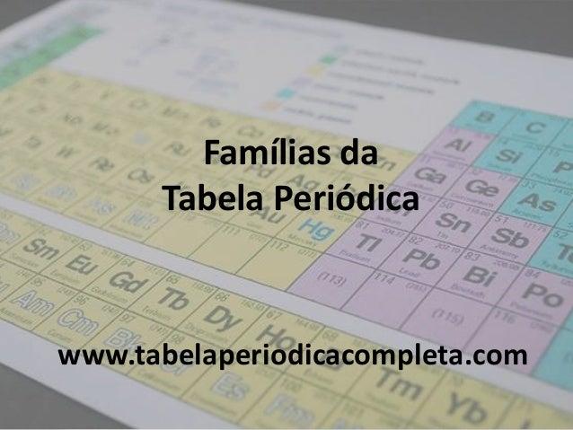 Famílias da Tabela Periódica www.tabelaperiodicacompleta.com