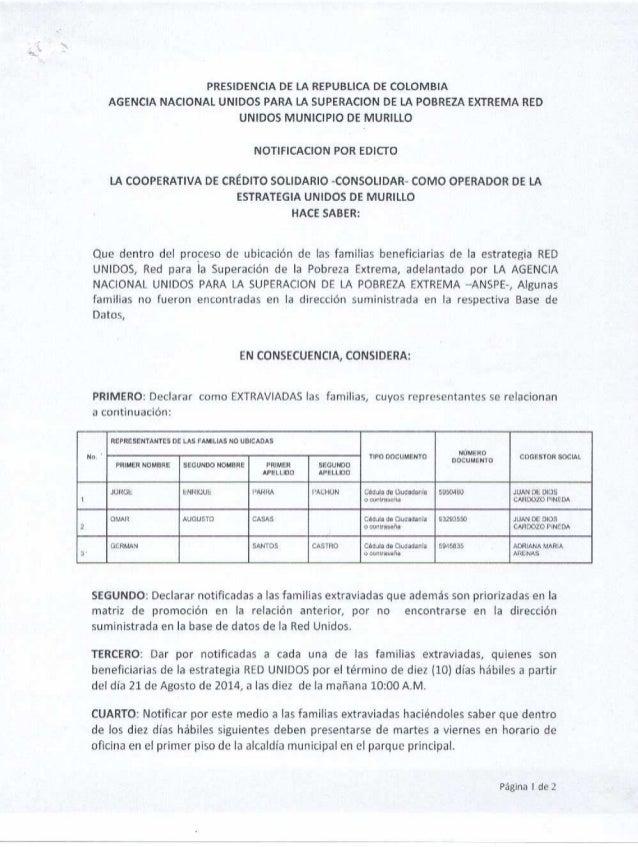 PRESIDENCIA DE LA REPUBLICA DE COLOMBIA AGENCIA NACIONAL UNIDOS PARA LA SUPERACION DE LA POBREZA EXTREMA RED UNIDOS MUNICI...