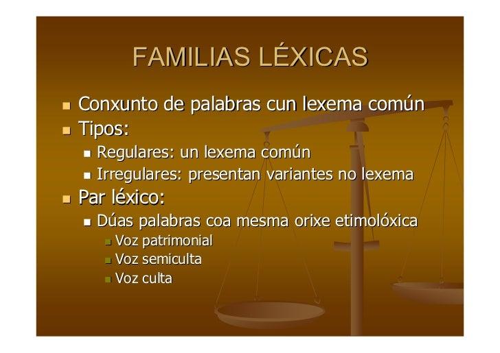 FAMILIAS LÉXICAS Conxunto de palabras cun lexema común Tipos:   Regulares: un lexema común   Irregulares: presentan varian...