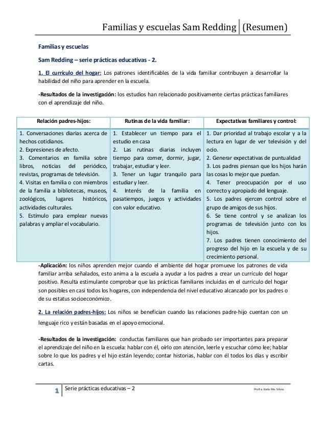 Familias y escuelas Sam Redding (Resumen) 1 Serie prácticas educativas – 2 Profra. Karla Ma. Silvas. Familias y escuelas S...