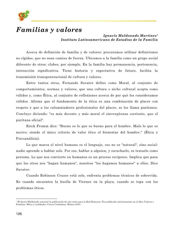 Familias y valores                                                                Ignacio Maldonado Martínez1             ...