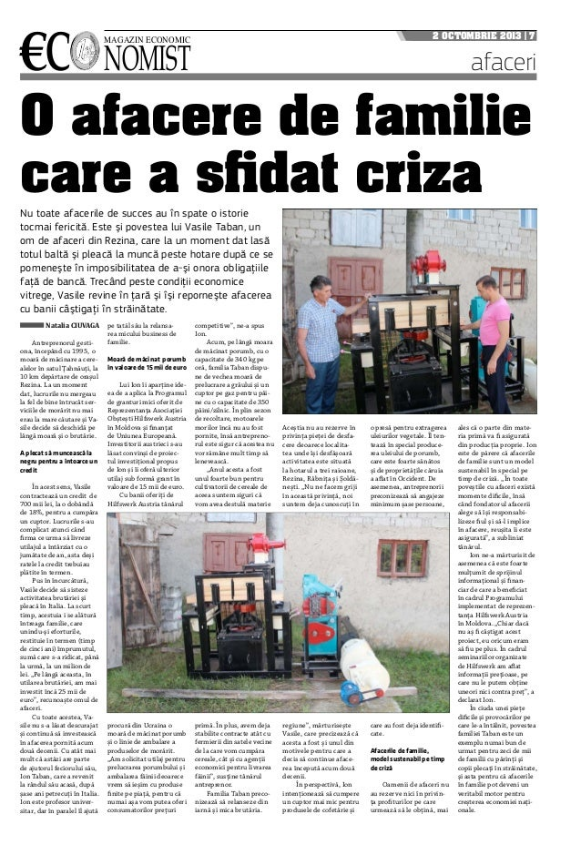 €c nomist magazin economic 2 octombrie 2013 | 7 afaceri O afacere de familie care a sfidat criza Natalia CIUVAGA Antrepren...