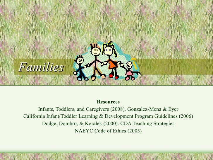 Families Resources Infants, Toddlers, and Caregivers (2008). Gonzalez-Mena & Eyer California Infant/Toddler Learning & Dev...