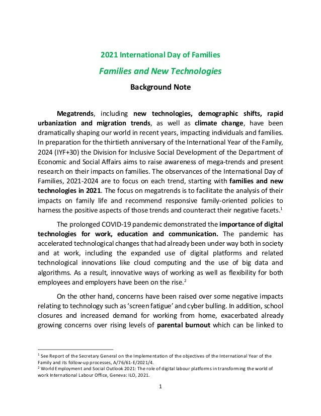 1 2021 International Day of Families Families and New Technologies Background Note Megatrends, including new technologies,...