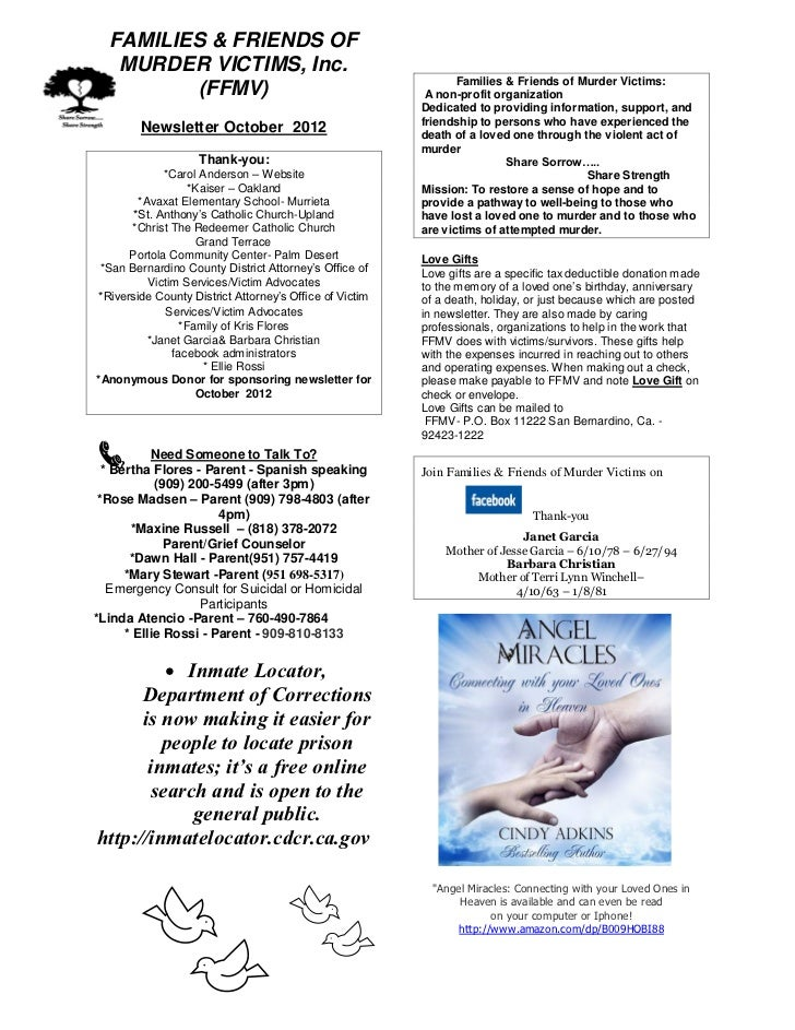 Families Amp Friends Of Murder Victims October 2012 Newsletter