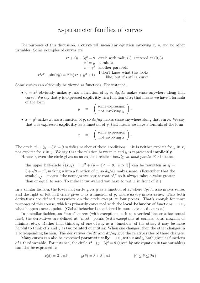 1                          n-parameter families of curves    For purposes of this discussion, a curve will mean any equati...