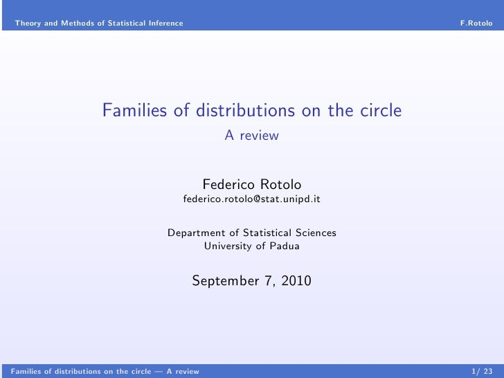 Theory and Methods of Statistical Inference                                  F.Rotolo                        Families of d...