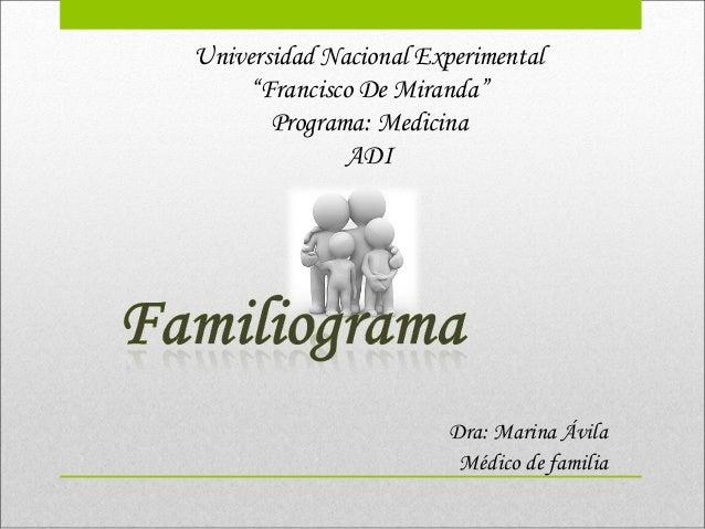 "Universidad Nacional Experimental ""Francisco De Miranda"" Programa: Medicina ADI Dra: Marina Ávila Médico de familia"