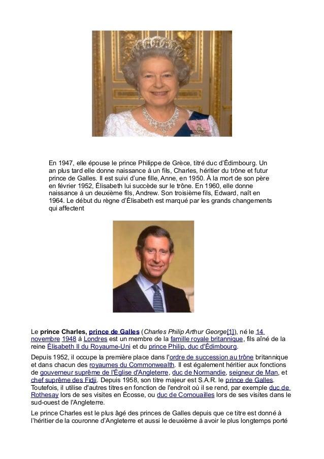 En 1947, elle épouse le prince Philippe de Grèce, titré duc d'Édimbourg. Un      an plus tard elle donne naissance à un fi...