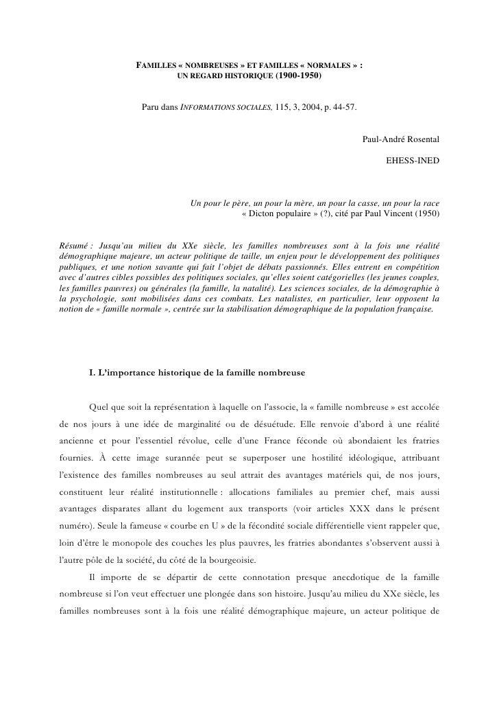 FAMILLES « NOMBREUSES » ET FAMILLES « NORMALES » :                              UN REGARD HISTORIQUE (1900-1950)          ...