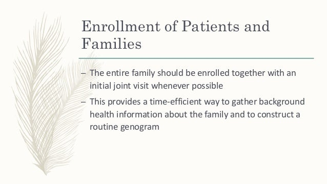 Enrollment of Patients and Families – This type of first visit gives the strong impression that will appreciate the entire...