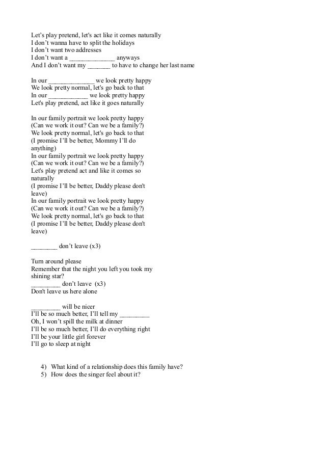 Family Portrait Lyrics By Pink