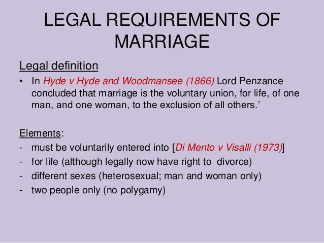 lord penzance s definition of marriage Marriage to the exclusion of all others is the only element of lord penzance's statement which still holds fast in english law, unions between more than two parties aren't legal.