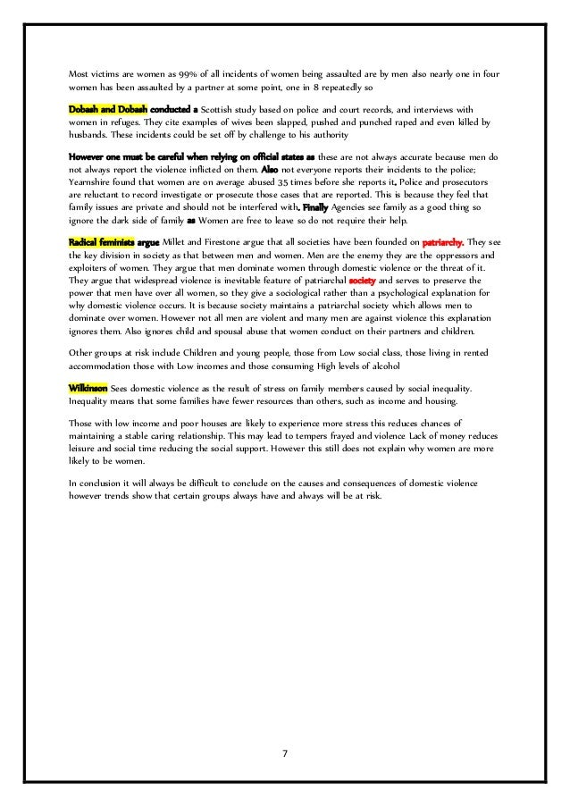 family as model essays revision booklet 7