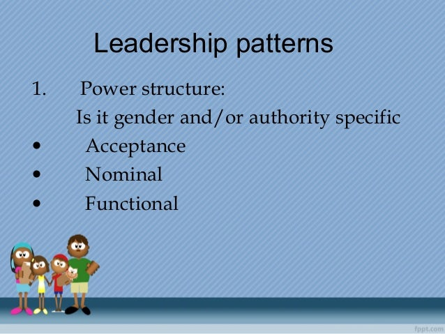 Leadershippatterns 1.Power structure: Is it gender and/or authority specific •Acceptance •...