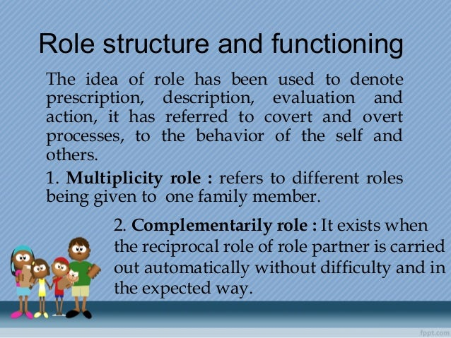 Rolestructureandfunctioning The idea of role has been used to denote prescription, description, evaluation and action,...