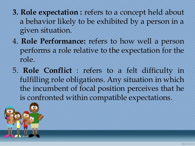 3. Role expectation : refers to a concept held about a behavior likely to be exhibited by a person in a given situation. 4...