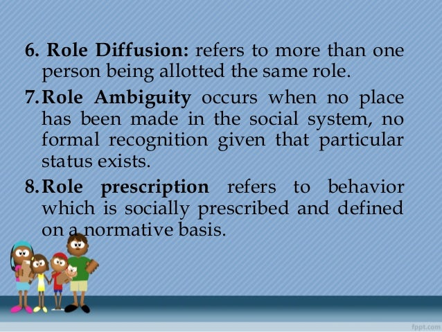 6. Role Diffusion: refers to more than one person being allotted the same role. 7.Role Ambiguity occurs when no place has ...