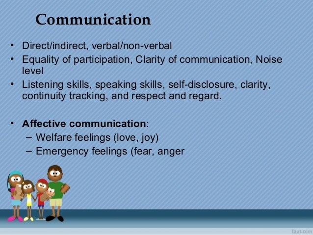 • Direct/indirect,verbal/non-verbal • Equalityofparticipation,Clarityofcommunication,Noise level • Listeningskill...