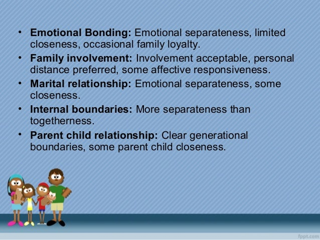 • Emotional Bonding: Emotional separateness, limited closeness, occasional family loyalty. • Family involvement: Involveme...