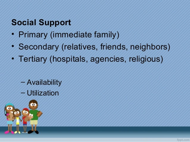 Social Support • Primary (immediate family) • Secondary (relatives, friends, neighbors) • Tertiary (hospitals, agencies, r...
