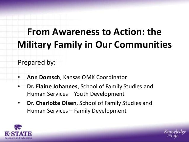 From Awareness to Action: the Military Family in Our Communities Prepared by: • Ann Domsch, Kansas OMK Coordinator • Dr. E...