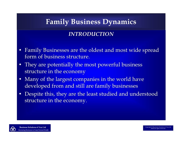 Family Business Dynamics                                                    INTRODUCTION  • Family Businesses are the olde...