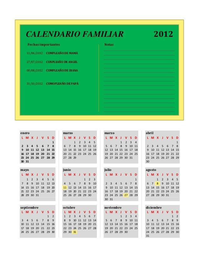 Family Calendar Sharing : Family calendar mon start