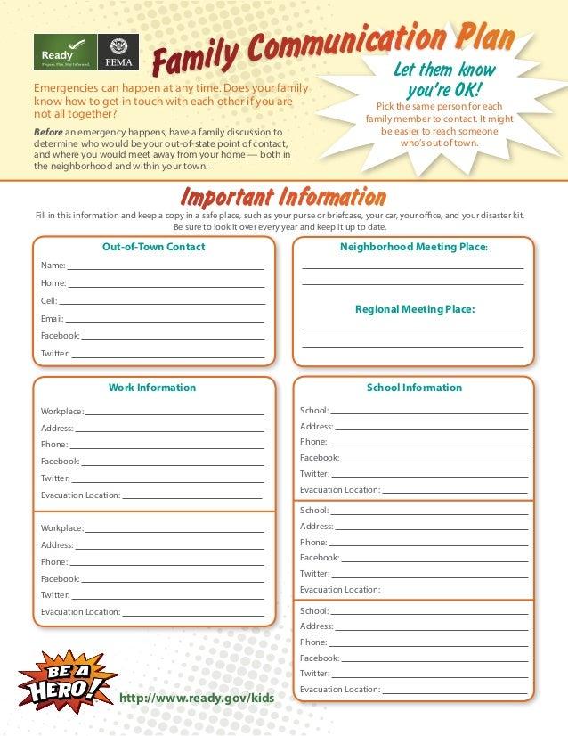 Family Communication Plan for Kids via FEMA and Ready – Emergency Preparedness Worksheet