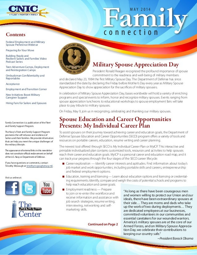 Military Spouse Appreciation Day President Ronald Reagan recognized the profound importance of spouse commitment to the re...