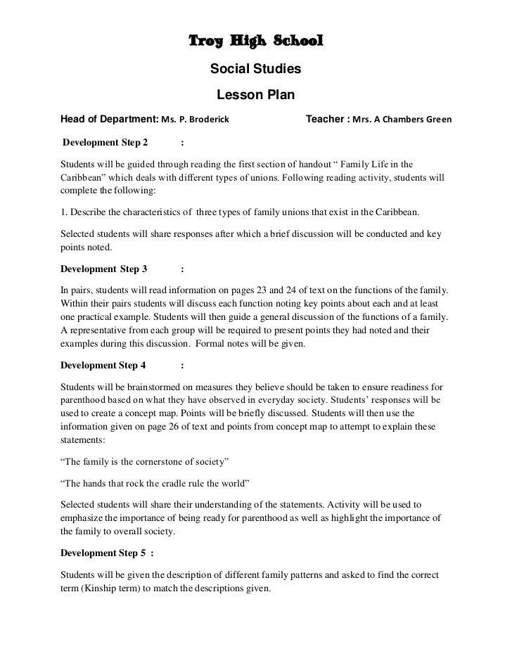 Family final2 – Six Step Lesson Plan