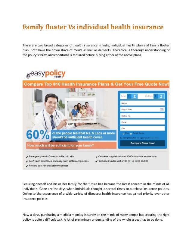 Family floater vs individual health insurance