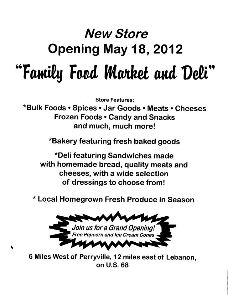 Family Food Market & Deli is now open!