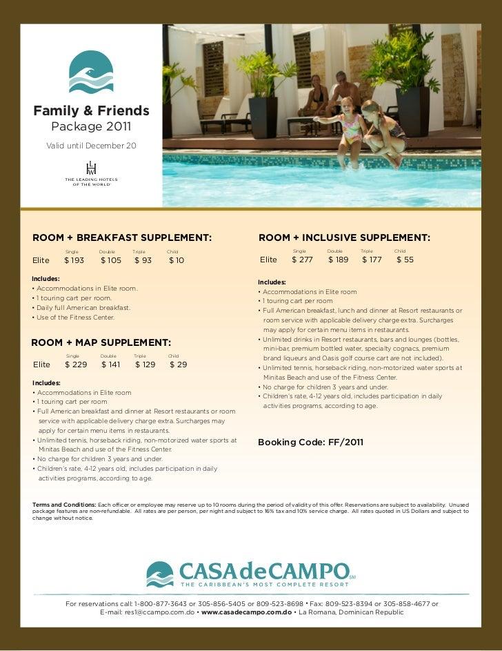 Family & Friends        Package 2011     Valid until December 20ROOM + BREAKFAST SUPPLEMENT:                              ...