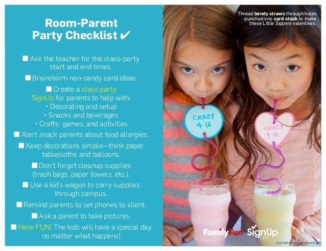 ■ Ask the teacher for the class-party start and end times. ■ Brainstorm non-candy card ideas. ■ Create a class party SignU...