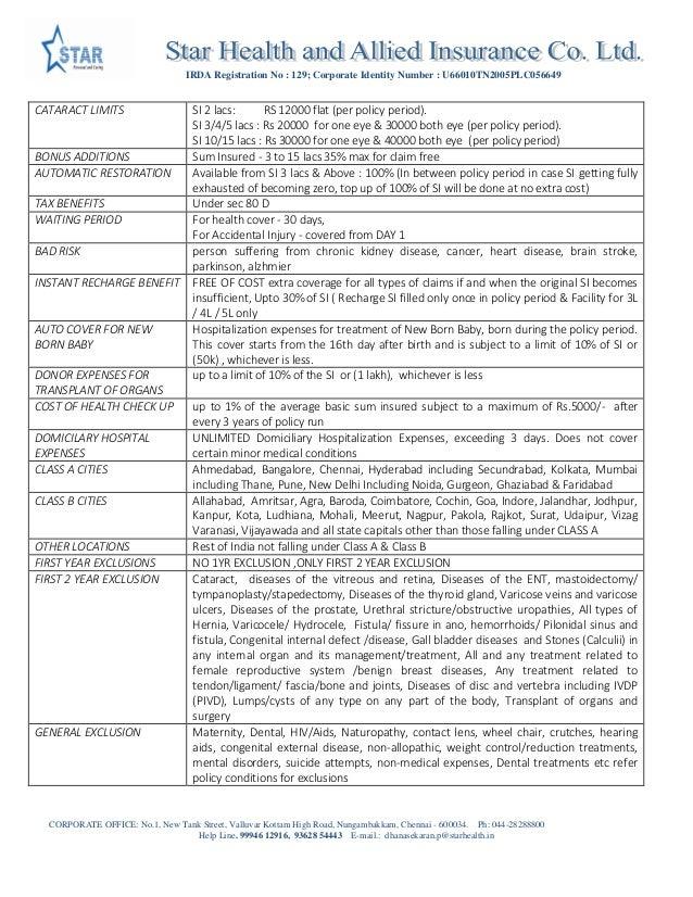 Star Health Insurance Coimbatore   Family Health Optima ...