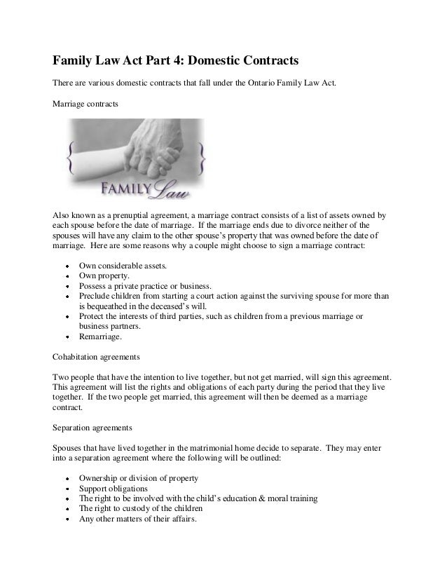 Family Law Act Part 4 Domestic Contracts