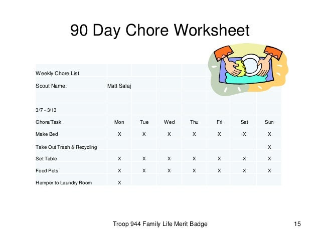 15 90 day chore worksheet troop 944 family life merit badge - Family Life Merit Badge Worksheet
